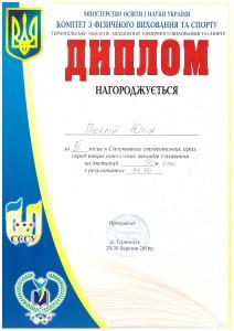 III місце 50м.брас Перкій Юля